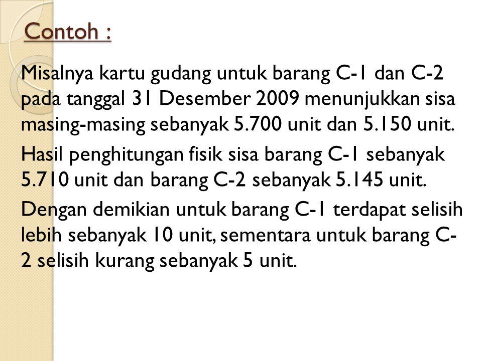 Contoh : Misalnya kartu gudang untuk barang C-1 dan C-2 pada tanggal 31 Desember 2009 menunjukkan sisa masing-masing sebanyak 5.700 unit dan 5.150 unit.