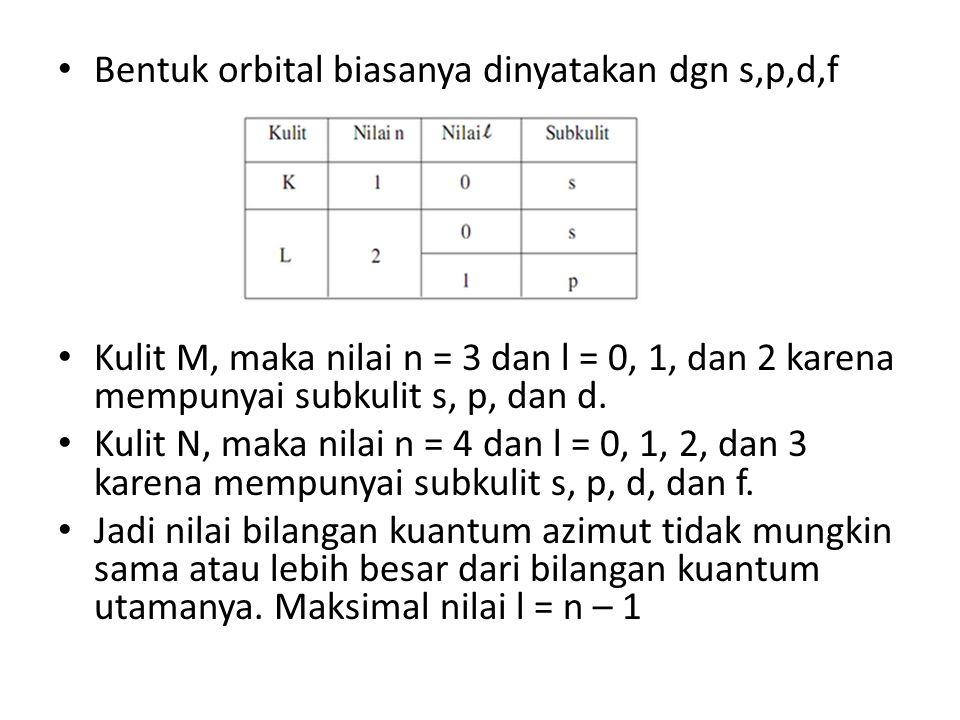 Bentuk orbital biasanya dinyatakan dgn s,p,d,f Kulit M, maka nilai n = 3 dan l = 0, 1, dan 2 karena mempunyai subkulit s, p, dan d.