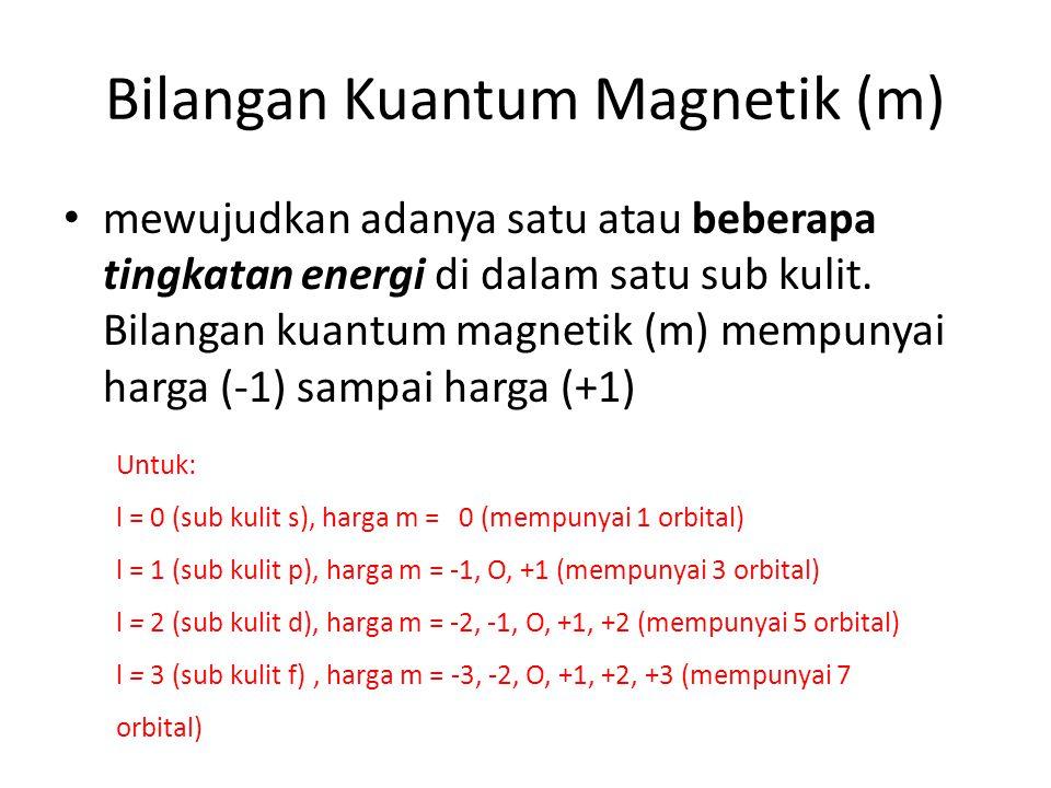Bilangan Kuantum Magnetik (m) mewujudkan adanya satu atau beberapa tingkatan energi di dalam satu sub kulit.