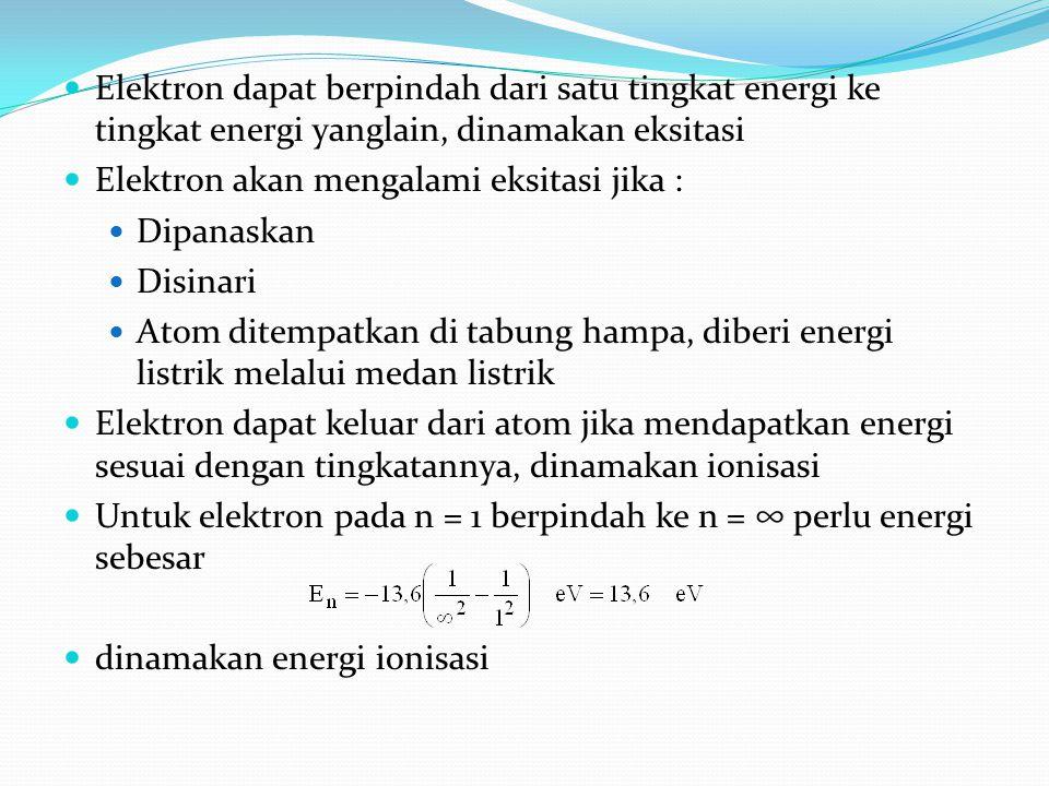 Elektron dapat berpindah dari satu tingkat energi ke tingkat energi yanglain, dinamakan eksitasi Elektron akan mengalami eksitasi jika : Dipanaskan Di