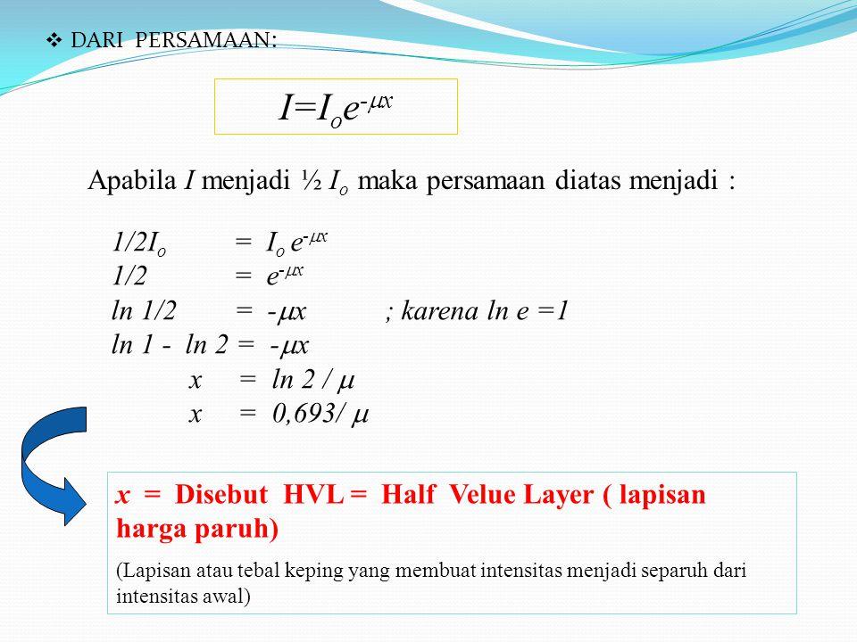  DARI PERSAMAAN : I=I o e -  x Apabila I menjadi ½ I o maka persamaan diatas menjadi : 1/2I o = I o e -  x 1/2 = e -  x ln 1/2 = -  x ; karena ln