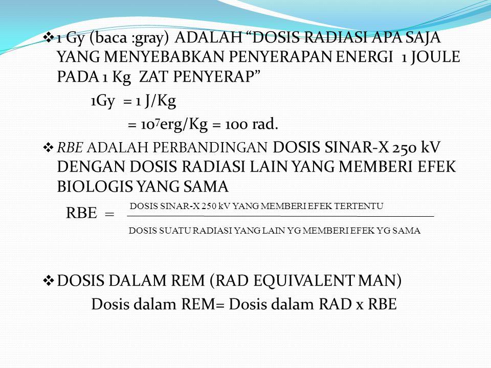 """ 1 Gy (baca :gray) ADALAH """"DOSIS RADIASI APA SAJA YANG MENYEBABKAN PENYERAPAN ENERGI 1 JOULE PADA 1 Kg ZAT PENYERAP"""" 1Gy = 1 J/Kg = 10 7 erg/Kg = 100"""