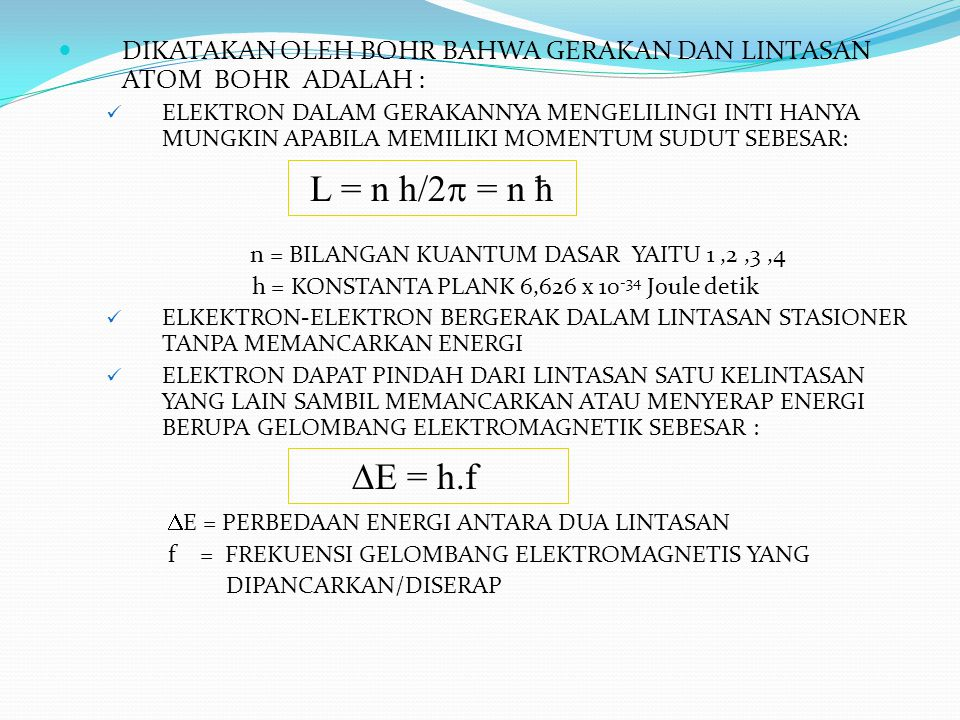 BEBERAPA ISTILAH JENIS ATOM  ISOTOP ADALAH ATOM DENGAN JUMLAH PROTON/ELEKTRON YANG SAMA TETAPI JUMLAH NNEUTRON YANG BERBEDA CONTOH : * ATOM HIDROGEN 1 H 1 MEMPUNYAI ISOTOP : DEUTRIUM ( 1 H 2 ) DAN TRITIUM ( 1 H 3 )  ISOBAR ADALAH ATOM DENGAN JUMLAH NUKLEON/NOMOR MASSA YANG SAMA CONTOH : * ATOM HIDROGEN 1 H 3 DENGAN 2 H 3  ISOTON ADALAH ATOM DENGAN JUMLAH NEUTRON YANG SAMA CONTOH : * ATOM HIDROGEN 1 H 3 DENGAN 2 He 4