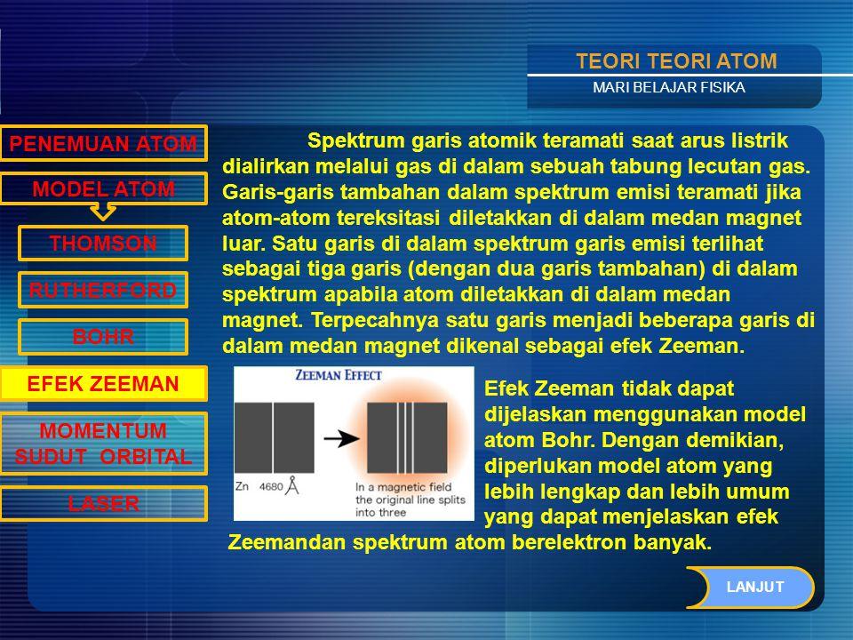 Contents TEORI TEORI ATOM MARI BELAJAR FISIKA Sedangkan elektron pada kulit terluar dikenal dengan sebutan elektron valensi.