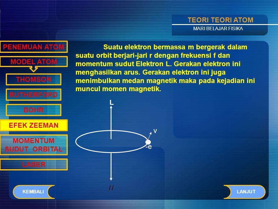 Contents TEORI TEORI ATOM MARI BELAJAR FISIKA MODEL ATOM PENEMUAN ATOM THOMSON RUTHERFORD BOHR EFEK ZEEMAN MOMENTUM SUDUT ORBITAL LASER Spektrum garis atomik teramati saat arus listrik dialirkan melalui gas di dalam sebuah tabung lecutan gas.