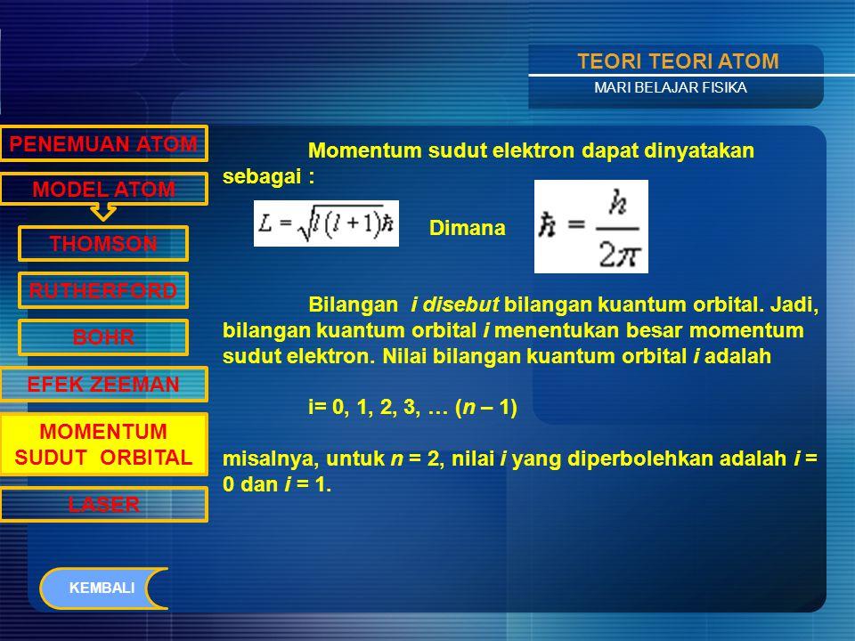 Contents TEORI TEORI ATOM MARI BELAJAR FISIKA MODEL ATOM PENEMUAN ATOM THOMSON RUTHERFORD BOHR EFEK ZEEMAN MOMENTUM SUDUT ORBITAL LASER Elektron yang bergerak mengelilingi inti atom memiliki momentum sudut.