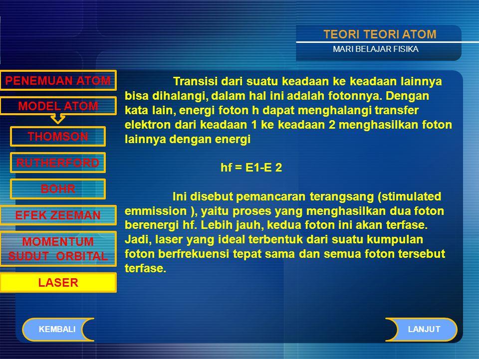 Contents TEORI TEORI ATOM MARI BELAJAR FISIKA LASER merupakan singkatan dari Light Amplification by Stimulated Emmission of Radiation (penguatan cahaya dengan stimulasi emisi radiasi).