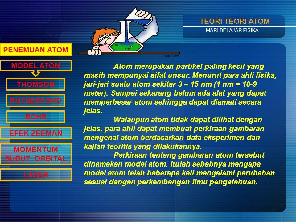 Contents TEORI TEORI ATOM MARI BELAJAR FISIKA MODEL ATOM PENEMUAN ATOM THOMSON RUTHERFORD BOHR EFEK ZEEMAN MOMENTUM SUDUT ORBITAL LASER Atom merupakan partikel paling kecil yang masih mempunyai sifat unsur.