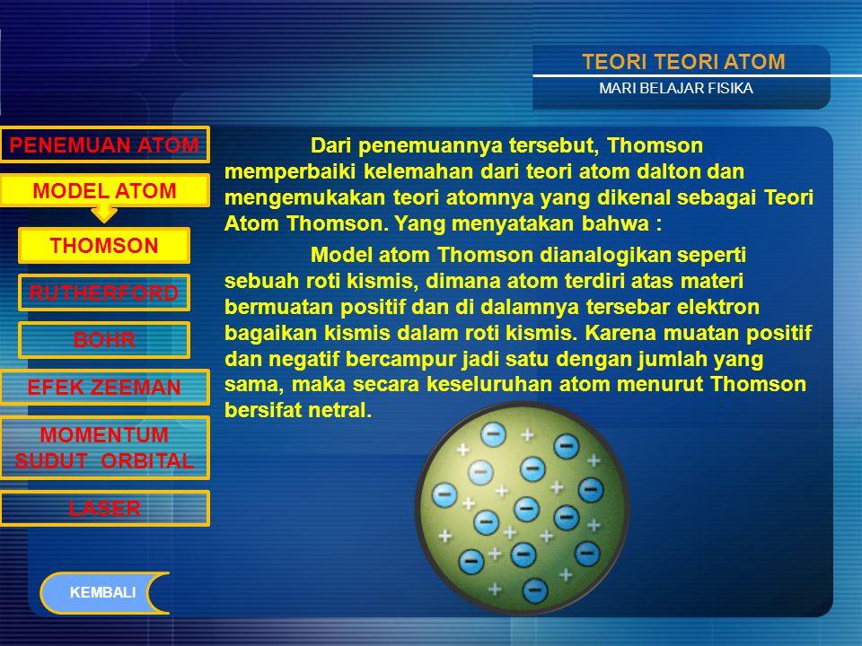 Contents TEORI TEORI ATOM MARI BELAJAR FISIKA Momentum sudut elektron dapat dinyatakan sebagai : Dimana Bilangan i disebut bilangan kuantum orbital.