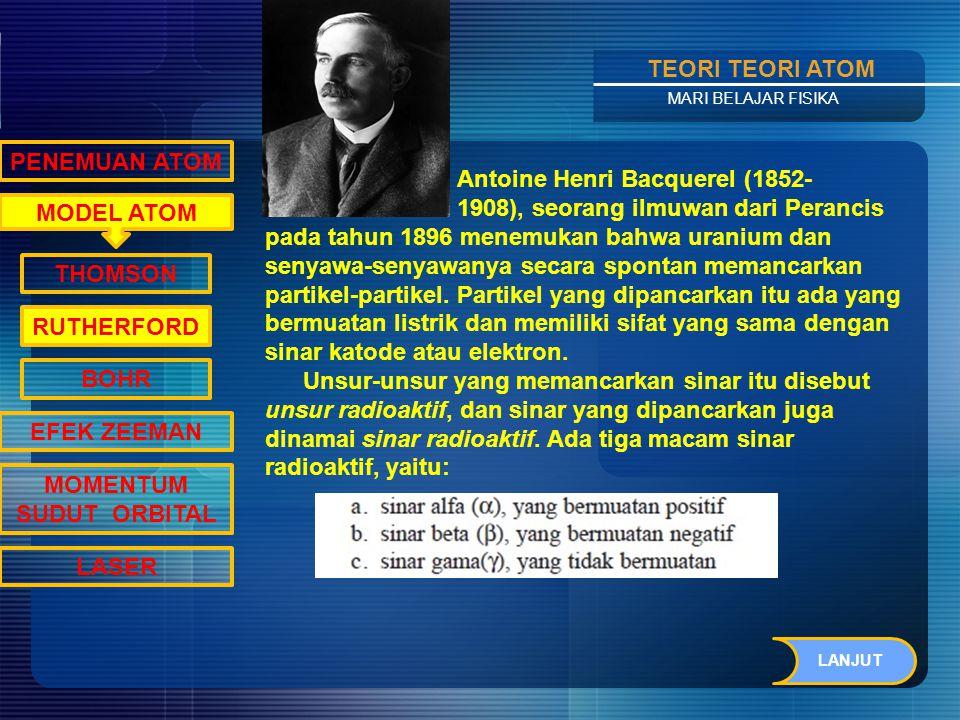 Contents TEORI TEORI ATOM MARI BELAJAR FISIKA MODEL ATOM PENEMUAN ATOM THOMSON RUTHERFORD BOHR EFEK ZEEMAN MOMENTUM SUDUT ORBITAL LASER Dari penemuannya tersebut, Thomson memperbaiki kelemahan dari teori atom dalton dan mengemukakan teori atomnya yang dikenal sebagai Teori Atom Thomson.