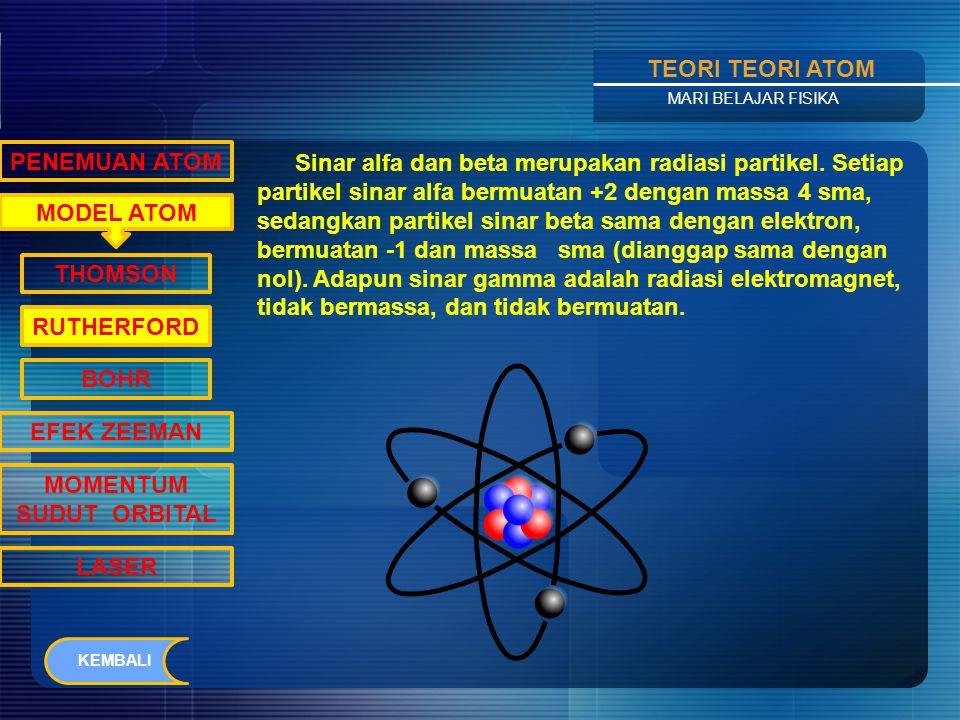 Contents TEORI TEORI ATOM MARI BELAJAR FISIKA MODEL ATOM PENEMUAN ATOM THOMSON RUTHERFORD BOHR EFEK ZEEMAN MOMENTUM SUDUT ORBITAL LASER Antoine Henri Bacquerel (1852- 1908), seorang ilmuwan dari Perancis pada tahun 1896 menemukan bahwa uranium dan senyawa-senyawanya secara spontan memancarkan partikel-partikel.