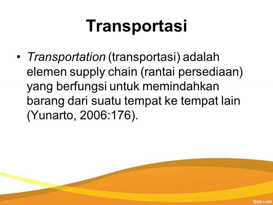 Transportasi Transportation (transportasi) adalah elemen supply chain (rantai persediaan) yang berfungsi untuk memindahkan barang dari suatu tempat ke tempat lain (Yunarto, 2006:176).