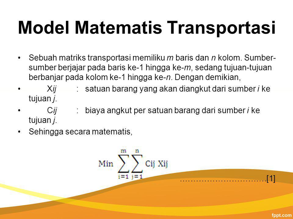 Model Matematis Transportasi Sebuah matriks transportasi memiliku m baris dan n kolom.