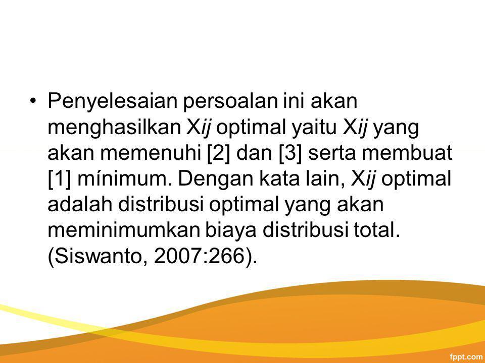Penyelesaian persoalan ini akan menghasilkan Xij optimal yaitu Xij yang akan memenuhi [2] dan [3] serta membuat [1] mínimum.