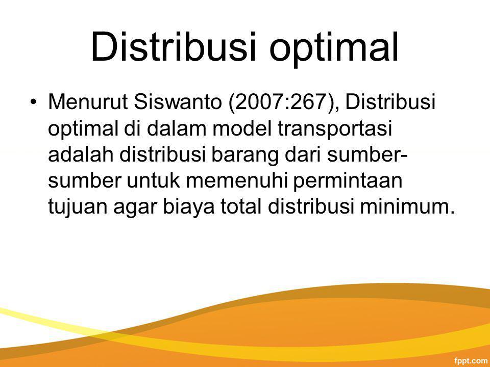Distribusi optimal Menurut Siswanto (2007:267), Distribusi optimal di dalam model transportasi adalah distribusi barang dari sumber- sumber untuk memenuhi permintaan tujuan agar biaya total distribusi minimum.
