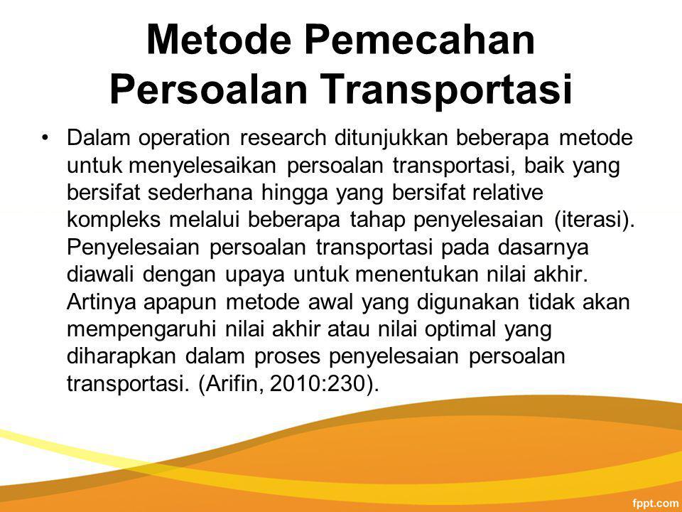 Metode Pemecahan Persoalan Transportasi Dalam operation research ditunjukkan beberapa metode untuk menyelesaikan persoalan transportasi, baik yang bersifat sederhana hingga yang bersifat relative kompleks melalui beberapa tahap penyelesaian (iterasi).