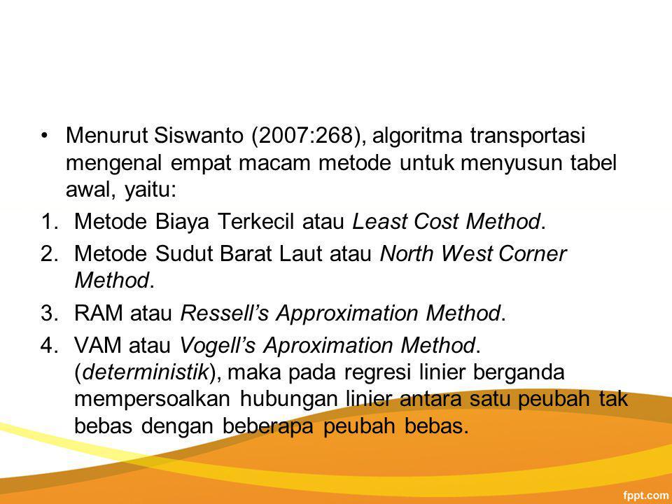 Menurut Siswanto (2007:268), algoritma transportasi mengenal empat macam metode untuk menyusun tabel awal, yaitu: 1.Metode Biaya Terkecil atau Least Cost Method.
