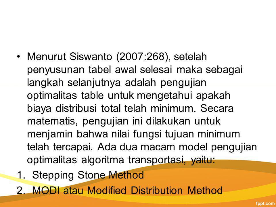 Menurut Siswanto (2007:268), setelah penyusunan tabel awal selesai maka sebagai langkah selanjutnya adalah pengujian optimalitas table untuk mengetahui apakah biaya distribusi total telah minimum.
