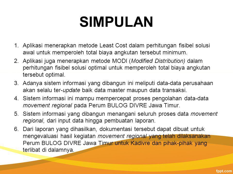 SIMPULAN 1.Aplikasi menerapkan metode Least Cost dalam perhitungan fisibel solusi awal untuk memperoleh total biaya angkutan tersebut minimum.