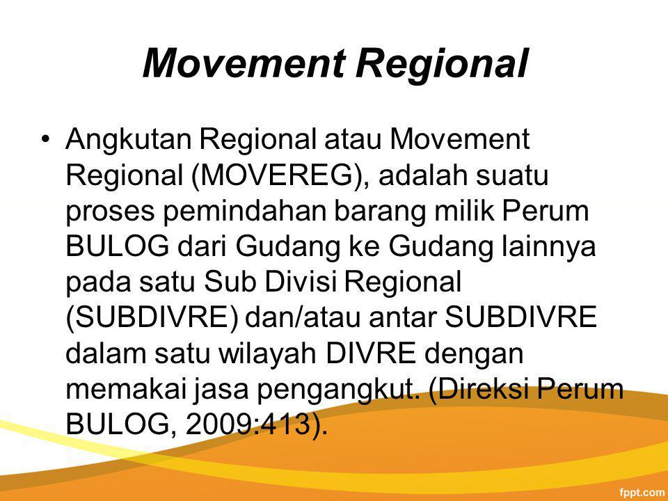 Movement Regional Angkutan Regional atau Movement Regional (MOVEREG), adalah suatu proses pemindahan barang milik Perum BULOG dari Gudang ke Gudang lainnya pada satu Sub Divisi Regional (SUBDIVRE) dan/atau antar SUBDIVRE dalam satu wilayah DIVRE dengan memakai jasa pengangkut.