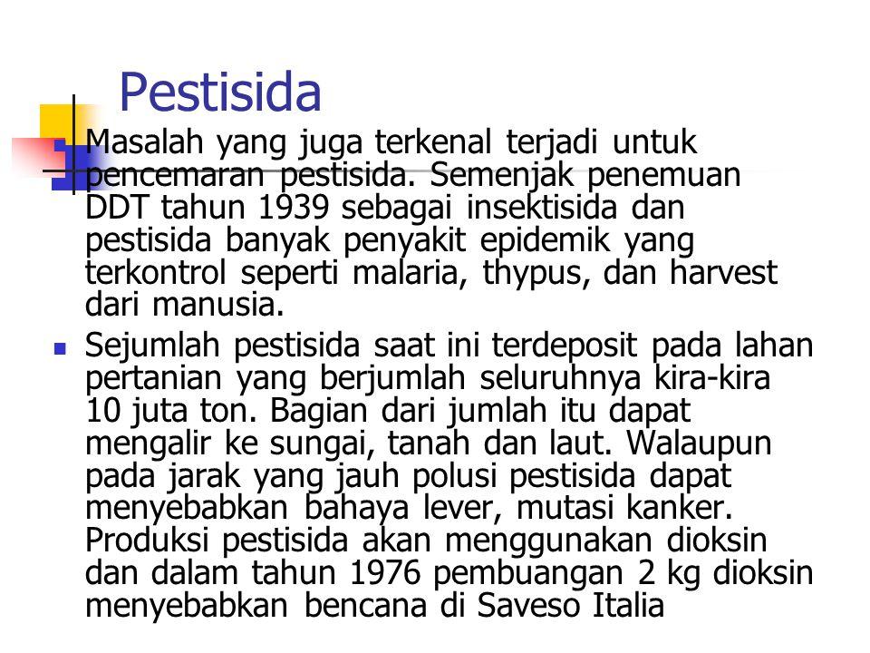 Pestisida Masalah yang juga terkenal terjadi untuk pencemaran pestisida.