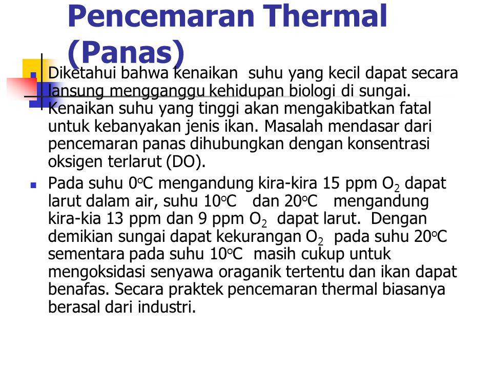Pencemaran Thermal (Panas) Diketahui bahwa kenaikan suhu yang kecil dapat secara lansung mengganggu kehidupan biologi di sungai.