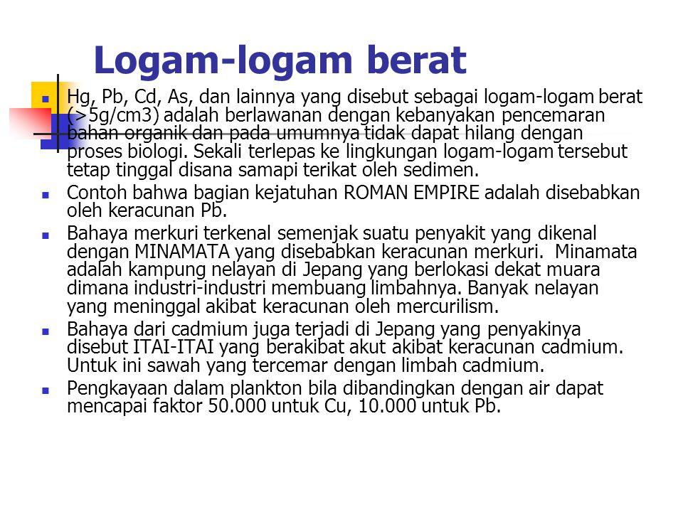 Logam-logam berat Hg, Pb, Cd, As, dan lainnya yang disebut sebagai logam-logam berat (>5g/cm3) adalah berlawanan dengan kebanyakan pencemaran bahan organik dan pada umumnya tidak dapat hilang dengan proses biologi.