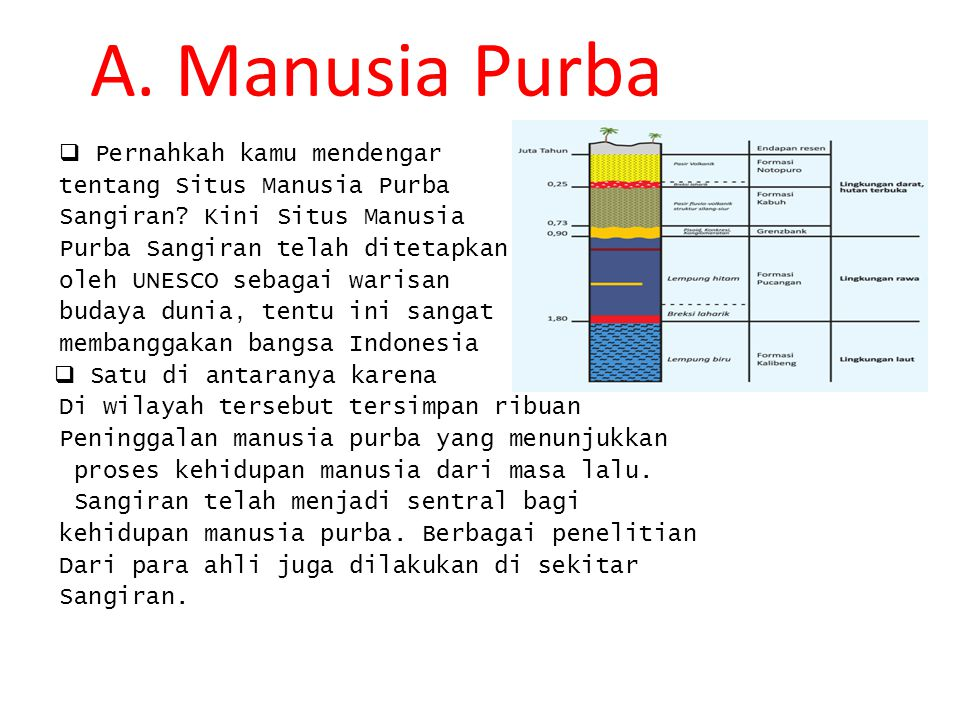 A. Manusia Purba  Pernahkah kamu mendengar tentang Situs Manusia Purba Sangiran? Kini Situs Manusia Purba Sangiran telah ditetapkan oleh UNESCO sebag