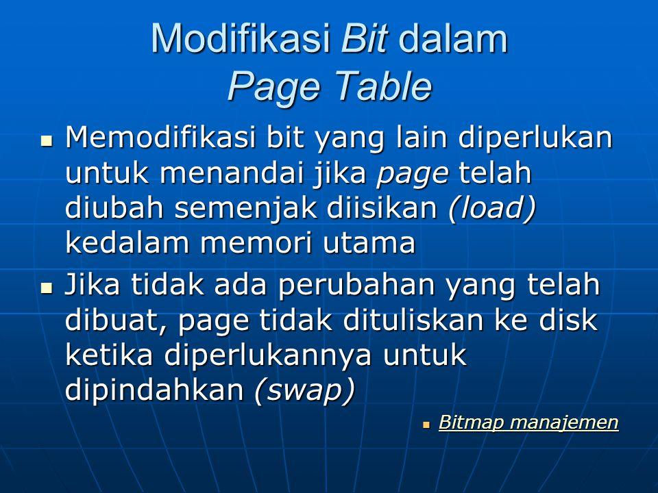Modifikasi Bit dalam Page Table Memodifikasi bit yang lain diperlukan untuk menandai jika page telah diubah semenjak diisikan (load) kedalam memori ut