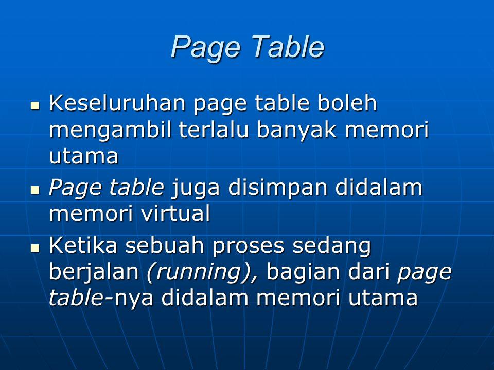 Page Table Keseluruhan page table boleh mengambil terlalu banyak memori utama Keseluruhan page table boleh mengambil terlalu banyak memori utama Page