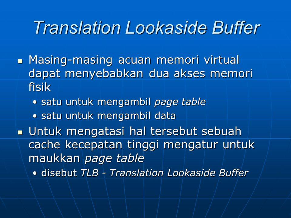 Translation Lookaside Buffer Masing-masing acuan memori virtual dapat menyebabkan dua akses memori fisik Masing-masing acuan memori virtual dapat meny