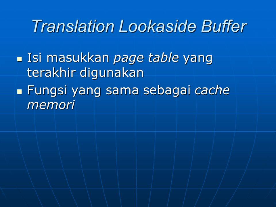 Translation Lookaside Buffer Isi masukkan page table yang terakhir digunakan Isi masukkan page table yang terakhir digunakan Fungsi yang sama sebagai