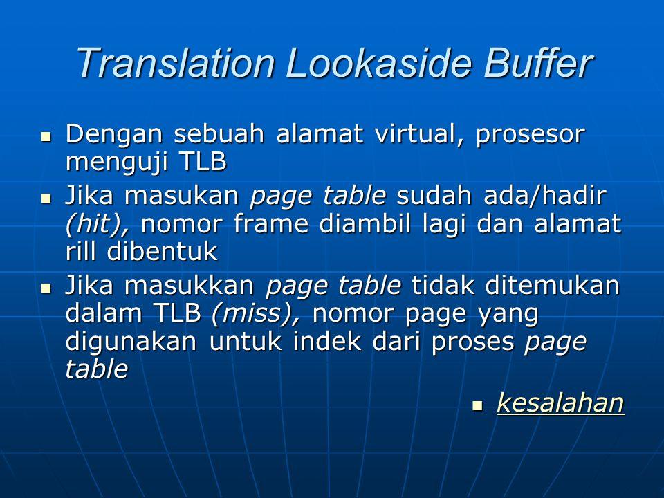 Translation Lookaside Buffer Dengan sebuah alamat virtual, prosesor menguji TLB Dengan sebuah alamat virtual, prosesor menguji TLB Jika masukan page t