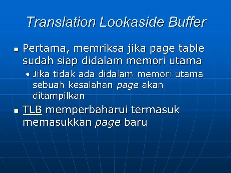 Translation Lookaside Buffer Pertama, memriksa jika page table sudah siap didalam memori utama Pertama, memriksa jika page table sudah siap didalam me