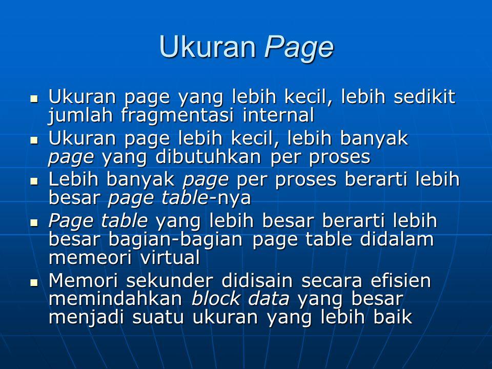 Ukuran Page Ukuran page yang lebih kecil, lebih sedikit jumlah fragmentasi internal Ukuran page yang lebih kecil, lebih sedikit jumlah fragmentasi int