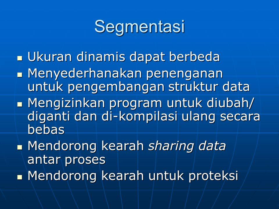 Segmentasi Ukuran dinamis dapat berbeda Ukuran dinamis dapat berbeda Menyederhanakan penenganan untuk pengembangan struktur data Menyederhanakan penen
