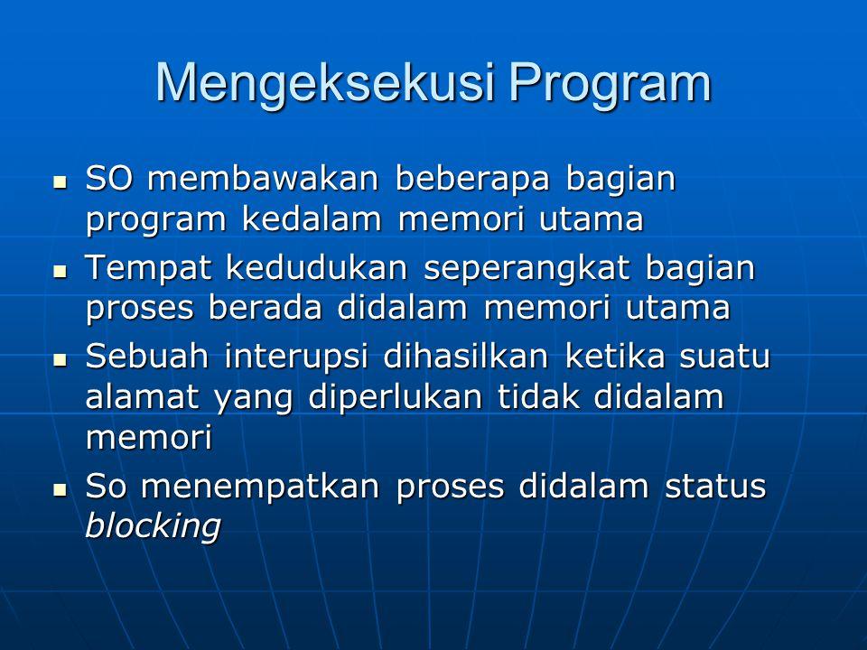Mengeksekusi Program SO membawakan beberapa bagian program kedalam memori utama SO membawakan beberapa bagian program kedalam memori utama Tempat kedu