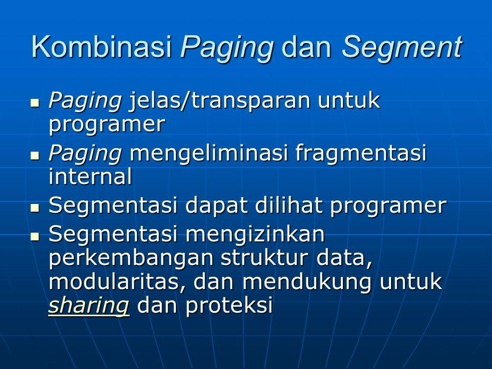 Kombinasi Paging dan Segment Paging jelas/transparan untuk programer Paging jelas/transparan untuk programer Paging mengeliminasi fragmentasi internal