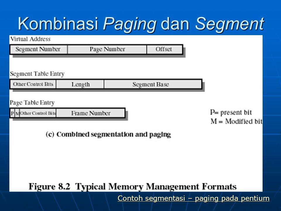 Kombinasi Paging dan Segment Contoh segmentasi – paging pada pentium Contoh segmentasi – paging pada pentium