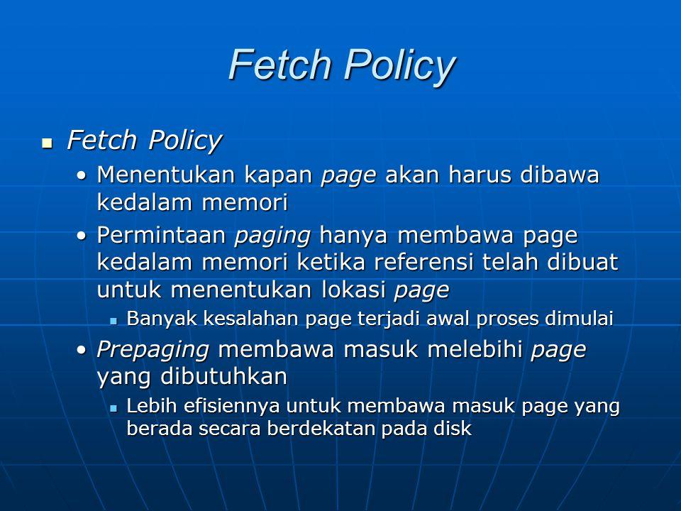 Fetch Policy Fetch Policy Fetch Policy Menentukan kapan page akan harus dibawa kedalam memoriMenentukan kapan page akan harus dibawa kedalam memori Pe