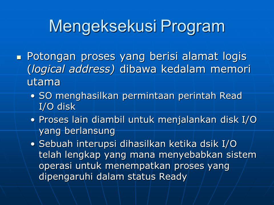 Mengeksekusi Program Potongan proses yang berisi alamat logis (logical address) dibawa kedalam memori utama Potongan proses yang berisi alamat logis (