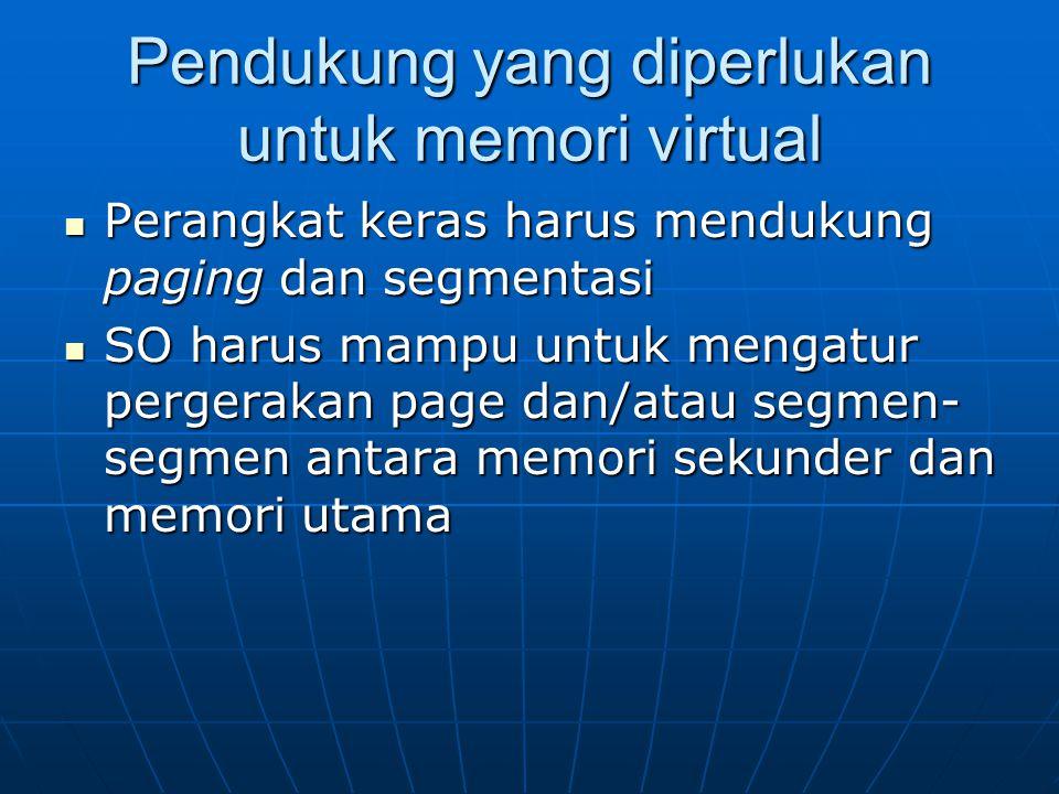Pendukung yang diperlukan untuk memori virtual Perangkat keras harus mendukung paging dan segmentasi Perangkat keras harus mendukung paging dan segmen