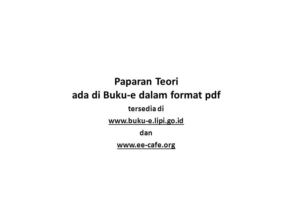 Paparan Teori ada di Buku-e dalam format pdf tersedia di www.buku-e.lipi.go.id dan www.ee-cafe.org