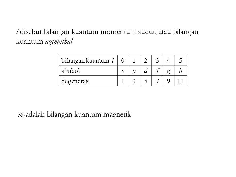 l disebut bilangan kuantum momentum sudut, atau bilangan kuantum azimuthal m l adalah bilangan kuantum magnetik bilangan kuantum l012345 simbolspdfgh