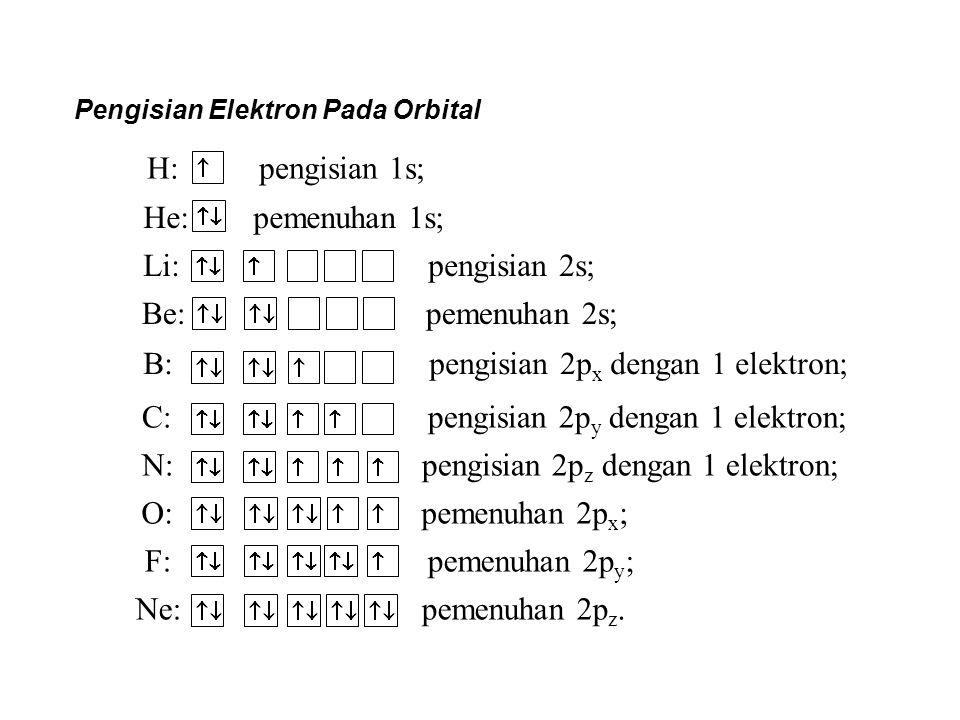 Pengisian Elektron Pada Orbital H: pengisian 1s; He: pemenuhan 1s; Li: pengisian 2s; Be: pemenuhan 2s; B: pengisian 2p x dengan 1 elektron; C: pengisi