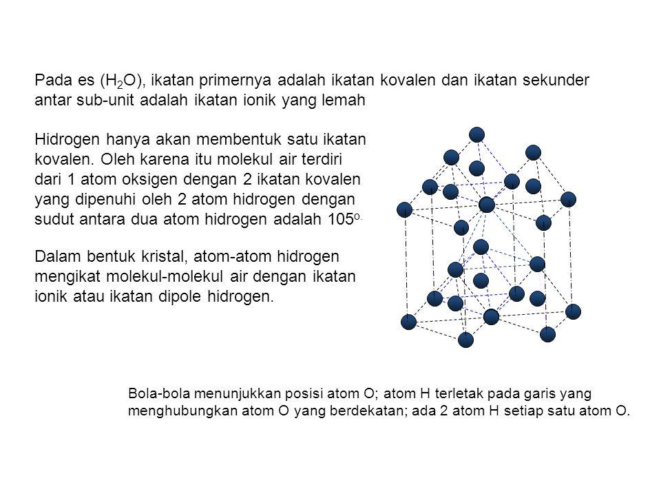 Pada es (H 2 O), ikatan primernya adalah ikatan kovalen dan ikatan sekunder antar sub-unit adalah ikatan ionik yang lemah Hidrogen hanya akan membentu