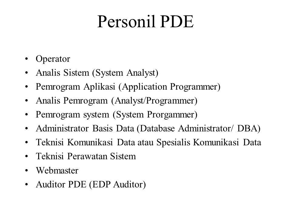 Personil PDE Operator Analis Sistem (System Analyst) Pemrogram Aplikasi (Application Programmer) Analis Pemrogram (Analyst/Programmer) Pemrogram system (System Prorgammer) Administrator Basis Data (Database Administrator/ DBA) Teknisi Komunikasi Data atau Spesialis Komunikasi Data Teknisi Perawatan Sistem Webmaster Auditor PDE (EDP Auditor)