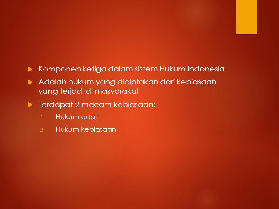  Komponen ketiga dalam sistem Hukum Indonesia  Adalah hukum yang diciptakan dari kebiasaan yang terjadi di masyarakat  Terdapat 2 macam kebiasaan: