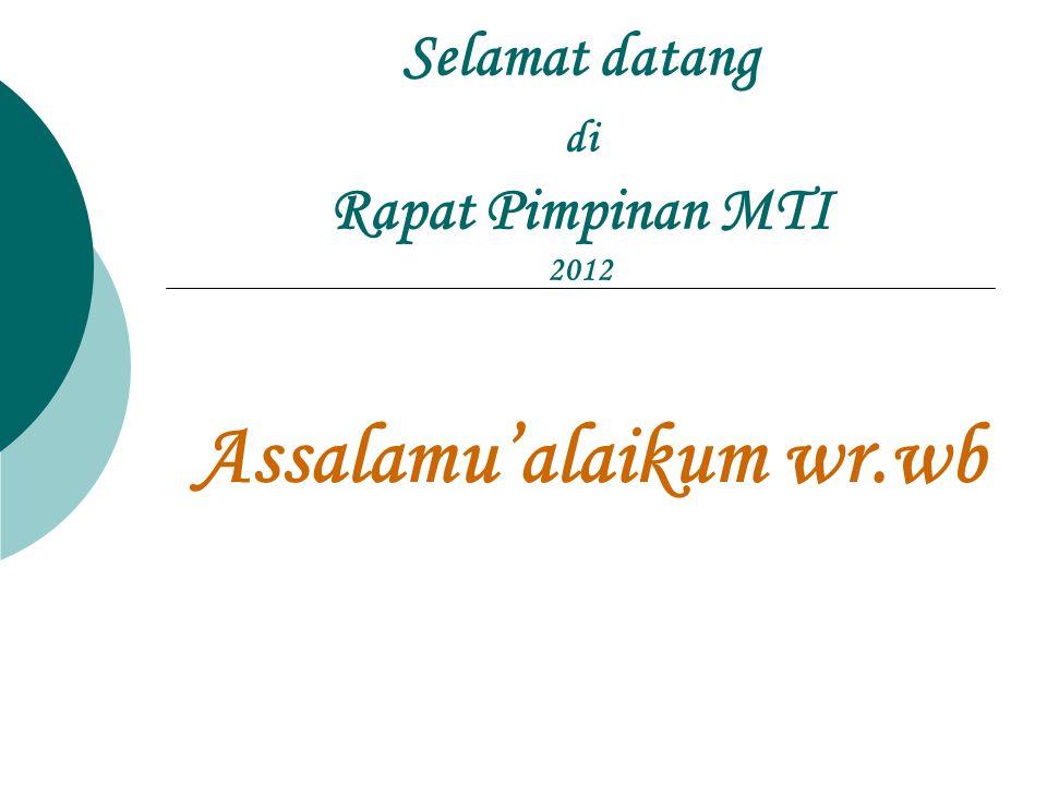 Selamat datang di Rapat Pimpinan MTI 2012 Assalamu'alaikum wr.wb