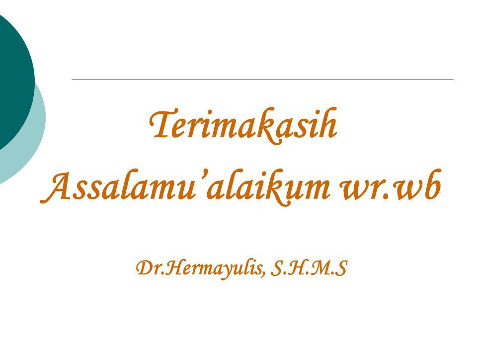 Terimakasih Assalamu'alaikum wr.wb Dr.Hermayulis, S.H.M.S